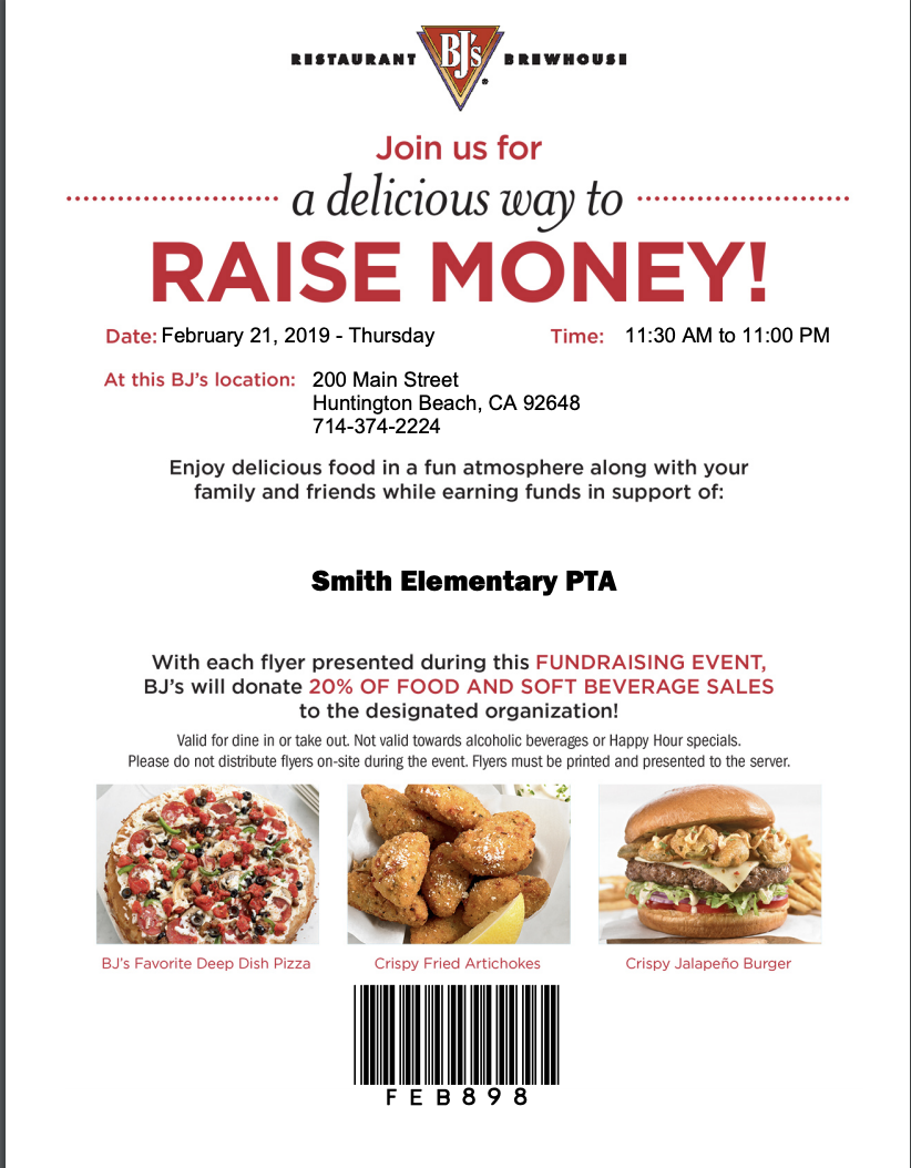 Dine Out For Smith! Eat at BJs