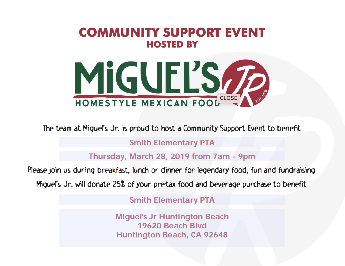 Dine Out for Smith! Miguel's Jr