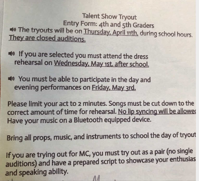 4th/5th Grade Talent Show Tryouts