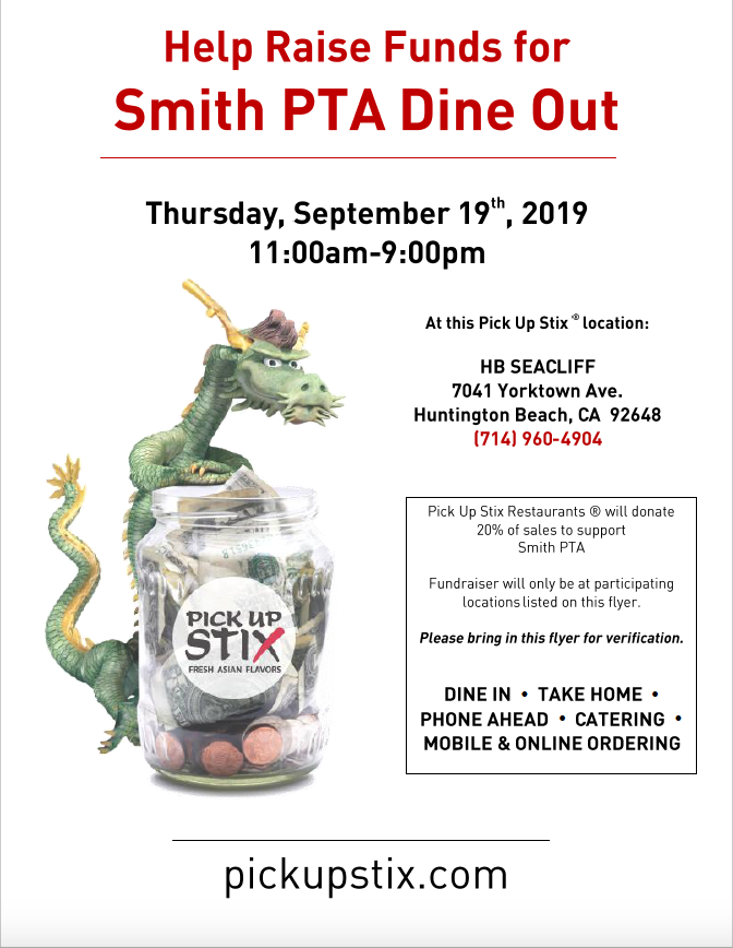 Dine out for Smith @ Pick up Stix