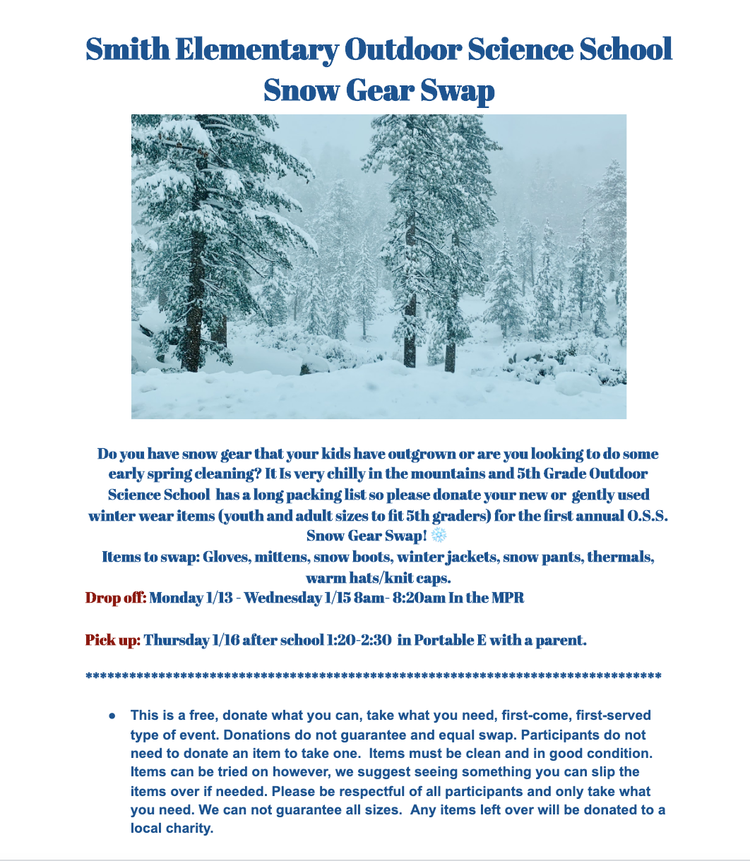 Snow Gear Swap for 5th Grade Students